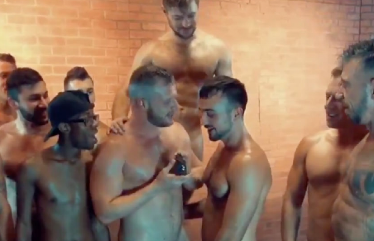 Adult male on male gang bang very
